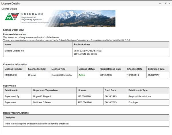 Electrical Contractors in Colorado - License